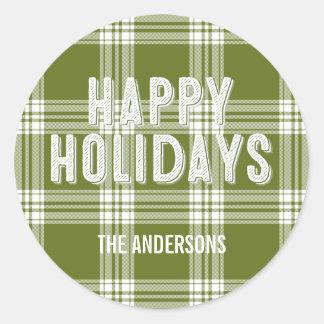 Green Plaid Christmas Happy Holidays Sticker