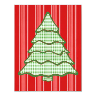 Green Plaid Christmas Tree V4 11 Cm X 14 Cm Invitation Card
