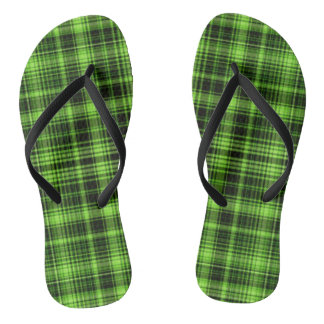 Green Plaid Flip Flops