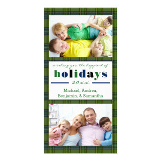Green Plaid Happiest Holidays-Christmas Photo Card