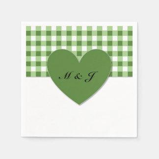 Green Plaid Heart Monogram Paper Napkin Wedding