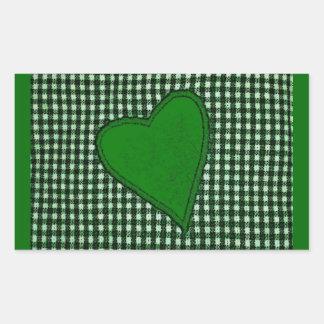 Green Plaid Heart Rectangular Sticker