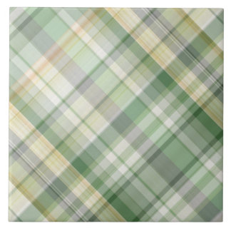Green plaid pattern large square tile