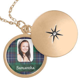 Green plaid photo personalized template gold plated necklace