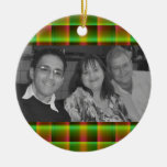 green plaid photoframe ornament
