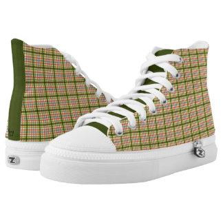 Green Plaid Printed Shoes