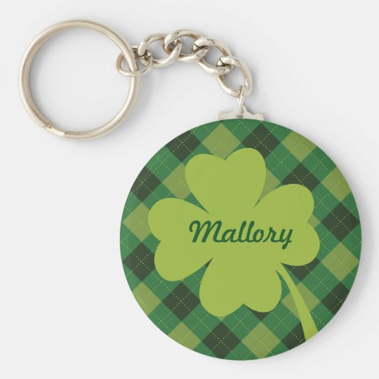 Green Plaid St. Patty's Day Personalised Keychain