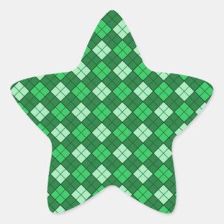 Green Plaid Star Sticker
