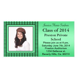 Green Plaid Stripes Graduate Photo Customised Photo Card