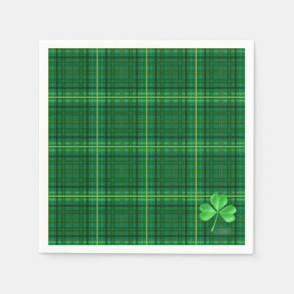 Green Plaid With Shamrock Disposable Napkin