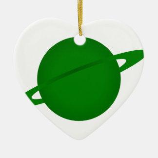 Green Planet Ceramic Heart Decoration