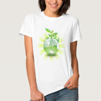 Green Plant Grows from Globe Tee Shirt