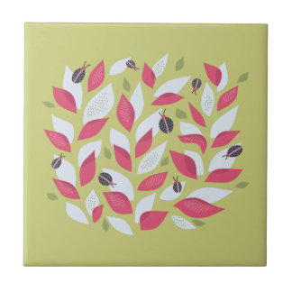 Green Plant With Pink Leaves And Ladybugs Spring Tile