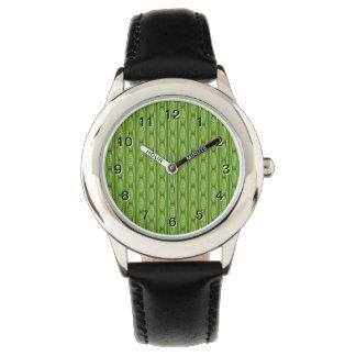 Green Plantlike Pattern. Wristwatch