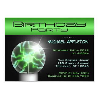 Green Plasma Ball Birthday Party Invitations
