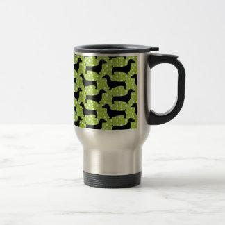 Green Polka Dachshunds Travel Mug