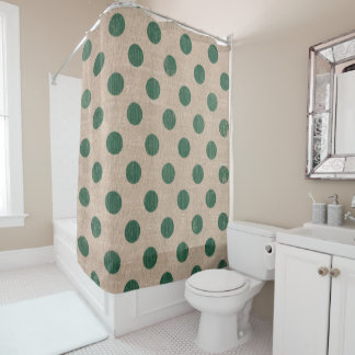 Green Polka dot Burlap Style Bathroom Curtain