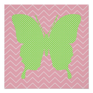 Green Polka Dot Butterfly Silhouette Poster