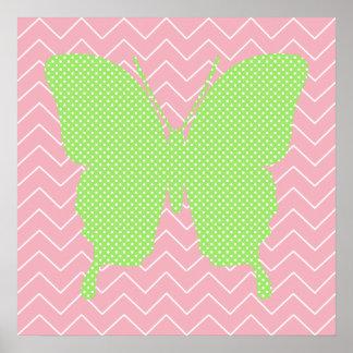 Green Polka Dot Butterfly Silhouette Print