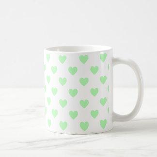 Green Polka Dot Hearts Coffee Mugs