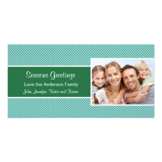 Green Polka Dot  Holiday Christmas Card Customised Photo Card