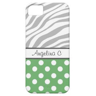 Green Polka Dot Light Zebra Print iPhone 5 Case