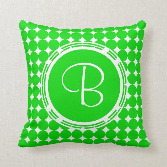 Green Polka Dot Monogram Cushion