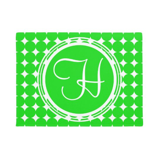 Green Polka Dot Monogram Doormat