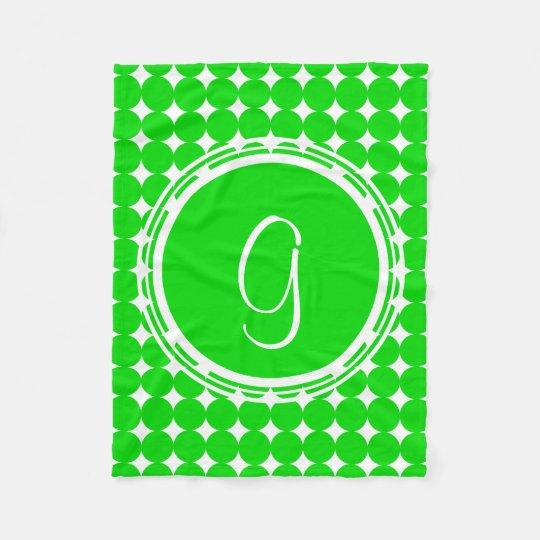 Green Polka Dot Monogram Fleece Blanket
