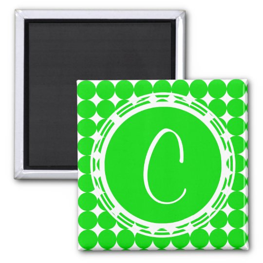 Green Polka Dot Monogram Magnet