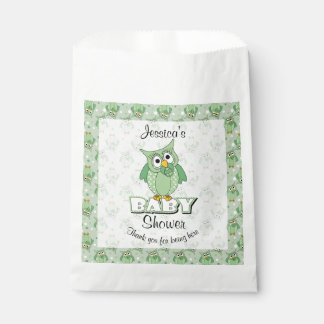 Green Polka Dot Owl Baby Shower Theme Favour Bags