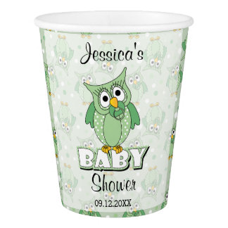 Green Polka Dot Owl Baby Shower Theme Paper Cup