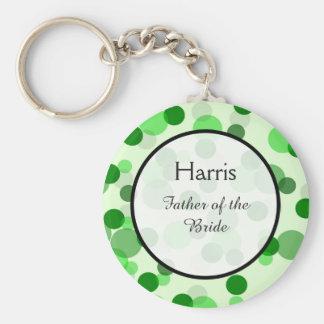 Green Polka Dot Pattern Wedding Keepsake Basic Round Button Key Ring