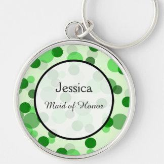 Green Polka Dot Pattern Wedding Keepsake Silver-Colored Round Key Ring