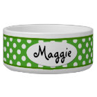 Green Polka Dot Personalised Ceramic Dog Bowl