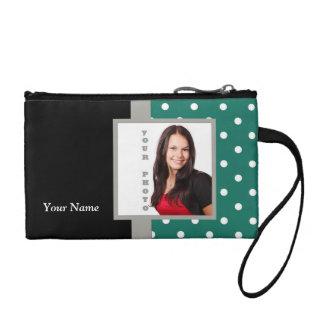 Green polka dot photo template coin purse