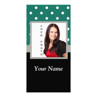 Green polka dot photo template personalised photo card