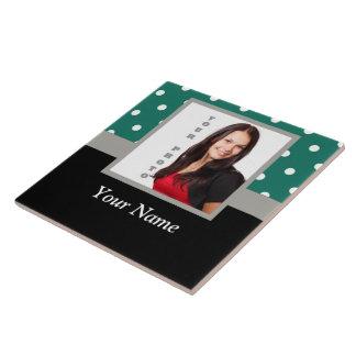 Green polka dot photo template tile