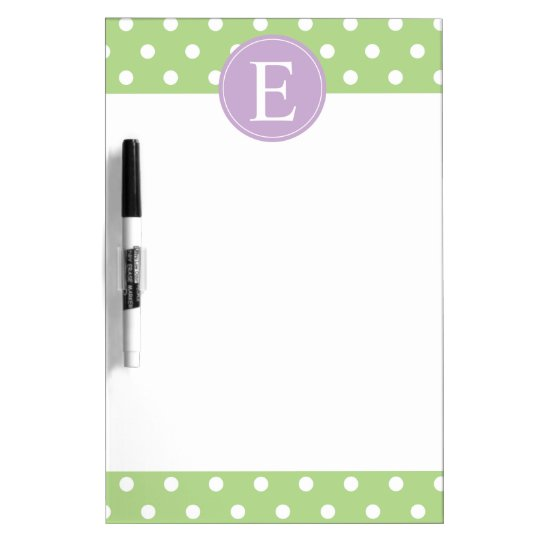 Green Polka Dot Purple Monogram Dry Erase Board