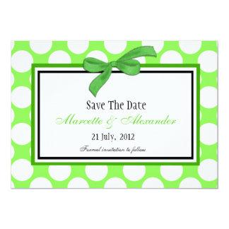 Green Polka Dot Save The Date Custom Invites