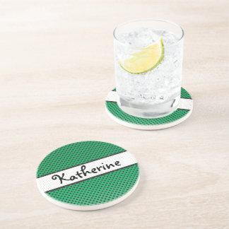 Green Polka Dot Scallops Personalized Name Beverage Coaster