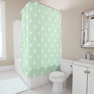 Green Polka Dot Shower Curtain