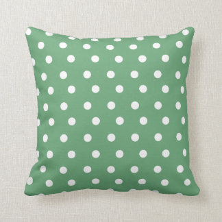 Green Polka Dot Throw Pillow/ Cushion