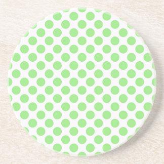 Green Polka Dots Drink Coasters