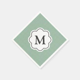 Green Polka Dots Monogram Napkins Paper Napkin