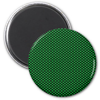 Green Polka Dots on Black 6 Cm Round Magnet
