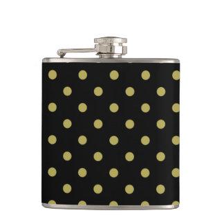 Green polka dots on black flask