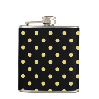 Green polka dots on black hip flask