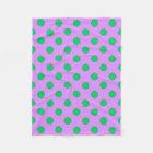 Green polka dots on lilac fleece blanket