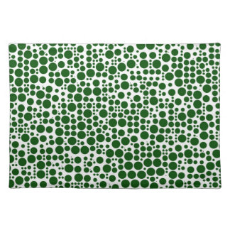Green Polka Dots on White Background Placemat